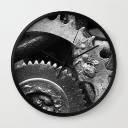 Rusted Wheel BW Wall Clock