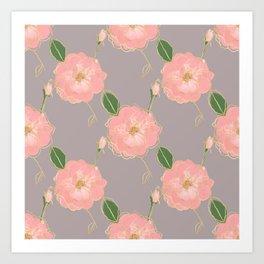 Elegant Pink & Gold Watercolor Roses Gray Design Art Print