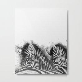 Zebra Pair Metal Print