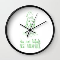 rupaul Wall Clocks featuring RuPaul's Best Friend Race by Stevie NYC
