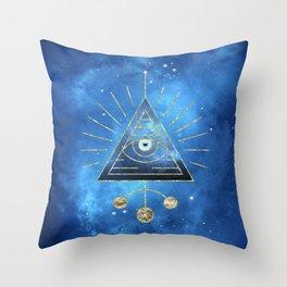 Magic Eye Blue Universe Throw Pillow