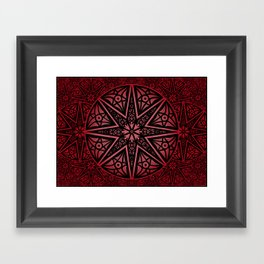 rashim red star mandala Framed Art Print