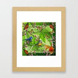 Birdy & Fishy spring green Framed Art Print