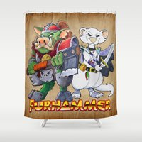 """ferret Shower Curtains featuring Furhammer """"P'Orc and Dark Ferret"""" by the Artisan Rogue"""