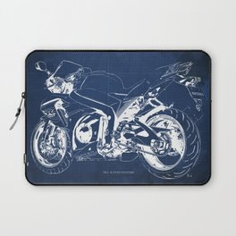 Suzuki motorcycle blueprint, white line, blue vintage background Laptop Sleeve