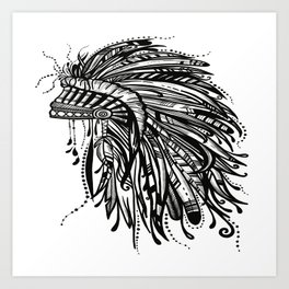 Native American Indian Headdress Warbonnet Black and White Art Print