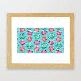 Donuts On Blue Background Cute Food Sweet Pattern Framed Art Print
