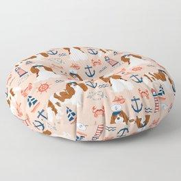 Cavalier King Charles Spaniel nautical sailing lighthouse new england sailboats dog breed Floor Pillow