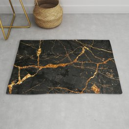 Black Malachite Marble With Gold Veins Rug