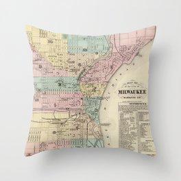 Vintage Map of Milwaukee Wisconsin (1878) Throw Pillow