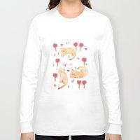 orange pattern Long Sleeve T-shirts featuring Orange Cat Pattern by Judith Loske