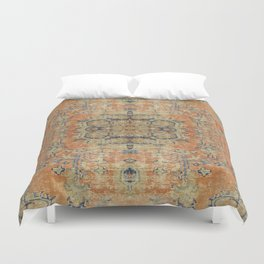 Vintage Woven Coral and Blue Kilim Duvet Cover