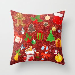 Cute Christmas Mix, red Throw Pillow
