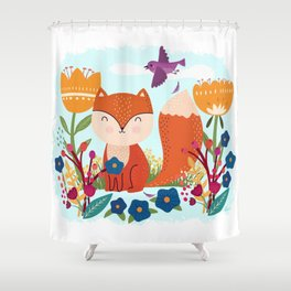 A Fox In The Flowers With A Flying Feathered Friend Shower Curtain