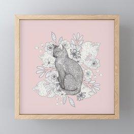 Floral Kitty Framed Mini Art Print