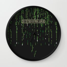 Matrix System Failure - Ugly Sweater Stitch Pattern Wall Clock