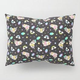 Silkie Guinea Pigs Kawaii Unicorn Pattern in Black Pillow Sham