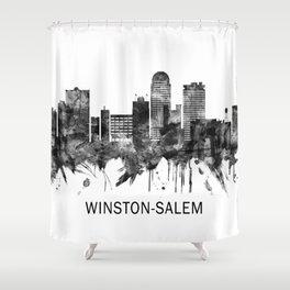 Winston-Salem North Carolina Skyline BW Shower Curtain