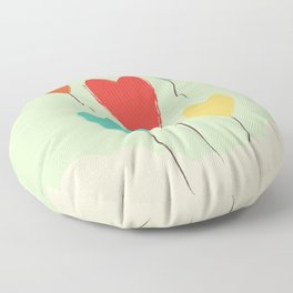 Heart Balloons above the Clouds Floor Pillow