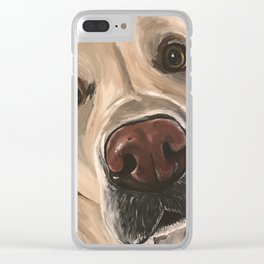 Yellow Lab Painting, Upclose Dog Art Clear iPhone Case
