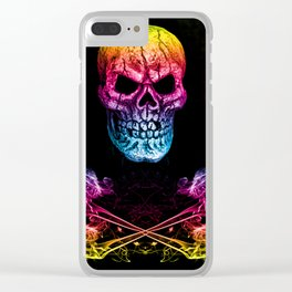 Skull And Crossbones Rainbow Clear iPhone Case
