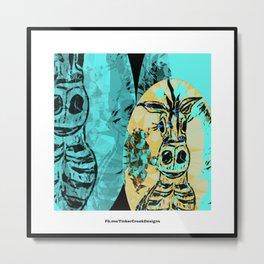 Zebra in Teal by Tinker Creek Designs Metal Print