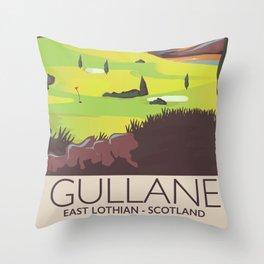 Gullane,East Lothian, Scotland Golf poster. Throw Pillow