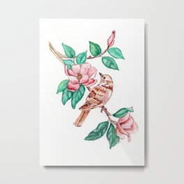 Bird Blossoms Metal Print