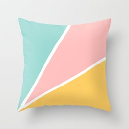 Tropical summer pastel pink turquoise yellow color block geometric pattern Throw Pillow