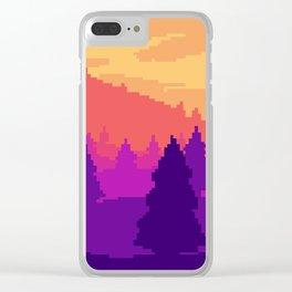 8-bit sunset Clear iPhone Case