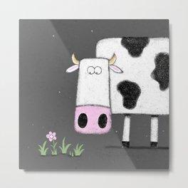 Cute animal Illustration Cow Metal Print