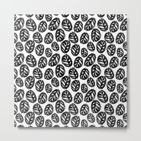 Monstera obliqua linocut black and white minimal house plants cute zen vibes yoga art Metal Print