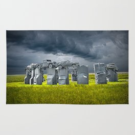 Car Henge in Alliance Nebraska after England's Stonehenge Rug