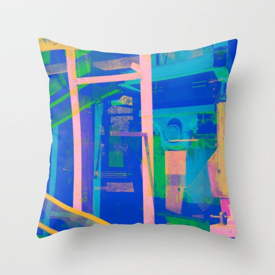 Industrial Abstract Blue 2 Throw Pillow