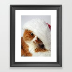 Santa Cat Framed Art Print