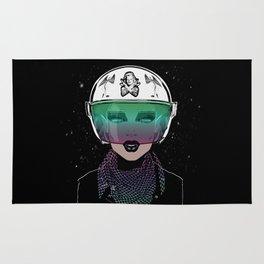 Let Me In Dude - Biker Girl Portrait Helmet Rug
