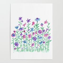 Cheerful spring flowers watercolor Poster