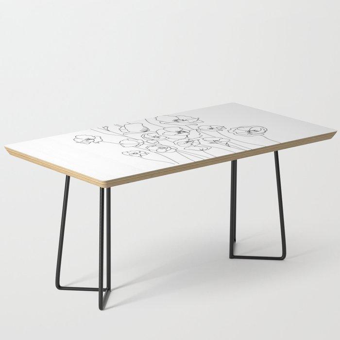 Poppy Flowers Line Art Coffee Table