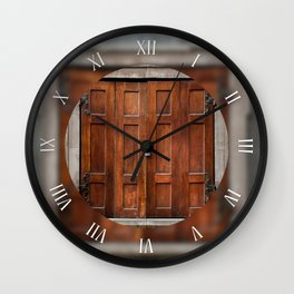 Old wooden shutters closed window Wall Clock