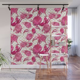 Pink and Gold Australian Native Floral Pattern - Protea, Grevillea and Eucalyptus Wall Mural