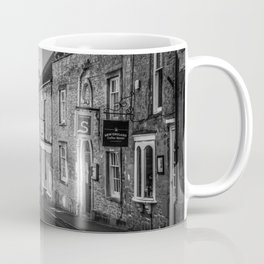 Winding Cotswold Town Road Black and White England Coffee Mug
