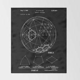 Buckminster Fuller 1961 Geodesic Structures Patent - White on Black Throw Blanket