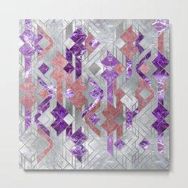 Geometric Amethyst, Rose quartz and Mother of pearl Metal Print