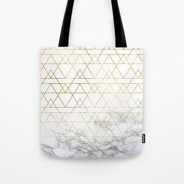 Gold Geometric Marble Deco Design Tote Bag