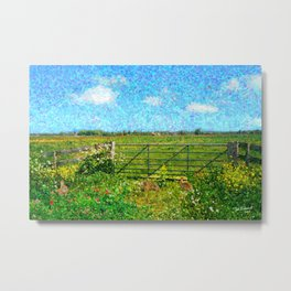 Landscape with rabbits Metal Print