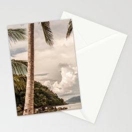 Beach theme, palm trees on tropical island Stationery Cards