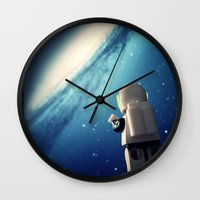 neil gaiman Wall Clocks featuring Neil in the galaxy by Salvatore Rotolo