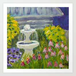 Image of my bold and cheerful fountain and flowers landscape acrylic painting Art Print