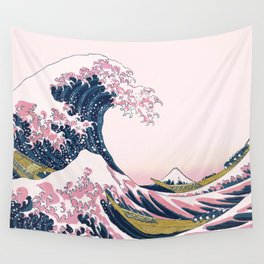 The Great Pink Wave off Kanagawa Wall Tapestry