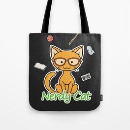 Nerdy Cat - Orange Tote Bag